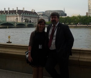 Annie with Rick Nimmo, Director of BGIPU, Houses of Parliament terrace